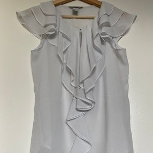 H&M White Ruffle Front Blouse